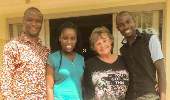 "Sherry with Phiona Mutesi, Robert Katende and Brian Mugabi from Disney's movie, ""The Queen of Katwe."""