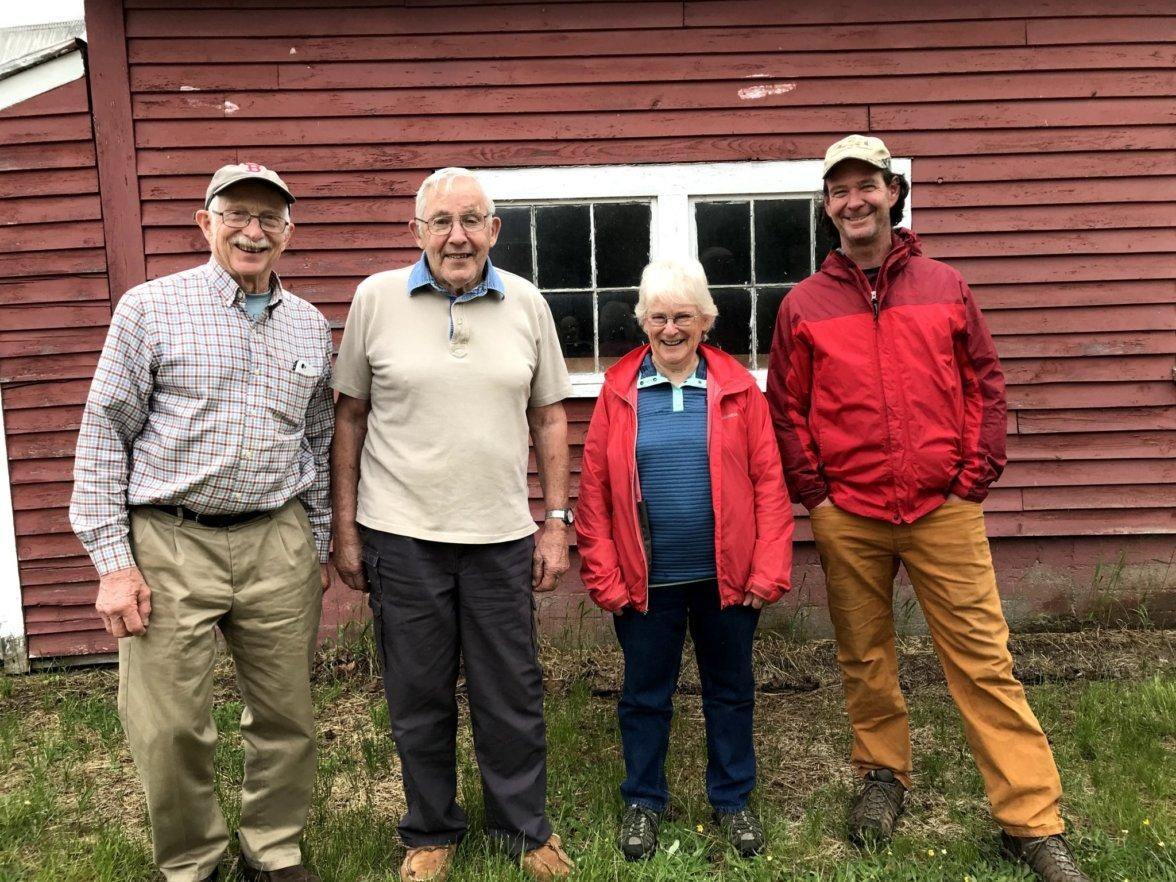 From left to right: Mac Davis (MLT), Sonny Hastings, Bonnie Pooley (MLT) and Chris Franklin (Maine Farmland Trust)