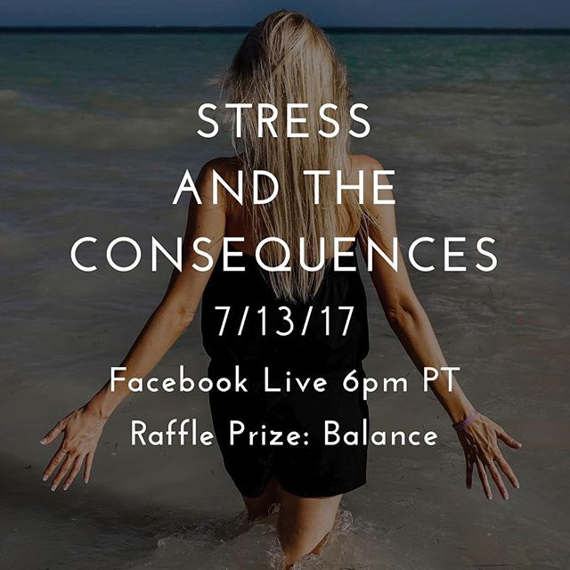 Join me this Thursday evening on Facebook live at 6pm PT as we cover stress and the consequences.  By joining the live conversation, you'll be entered in the raffle for a chance to win the amazing doTERRA oil blend - Balance! #doTERRA