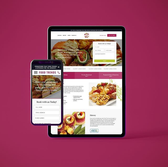 🍴NEW 🍴Landing page design and marketing collateral for Food Trends Catering, one of New York City's premier catering companies. . . . . . #branddevelopment #catering #landingpage #marketing #uidesign #visualidentity #foodandbeverage