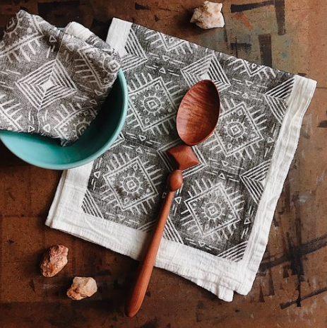 Sunrise Tea Towel set hand made block printed art