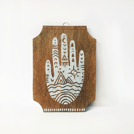 Wood Hamsa Block printed art original