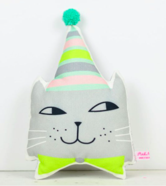 Pink Nounou Kitty Pillow with hat
