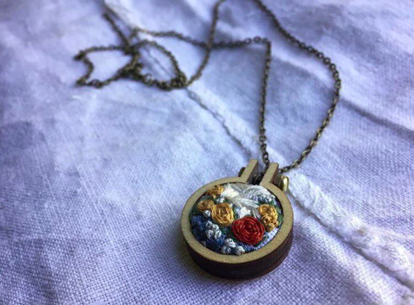 Hand Embroidered necklace by GinnieJune