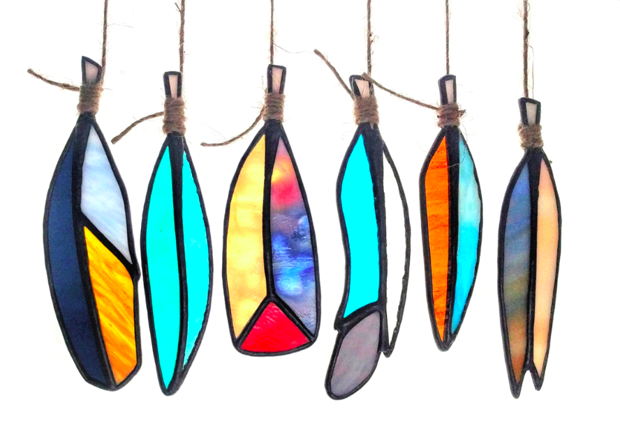 Handmade stained glass modern feathers colorful