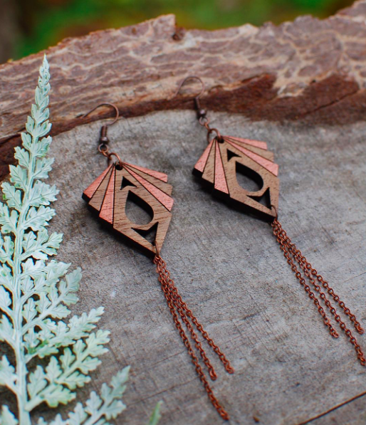 Custom handmade wood jewelry and earrings
