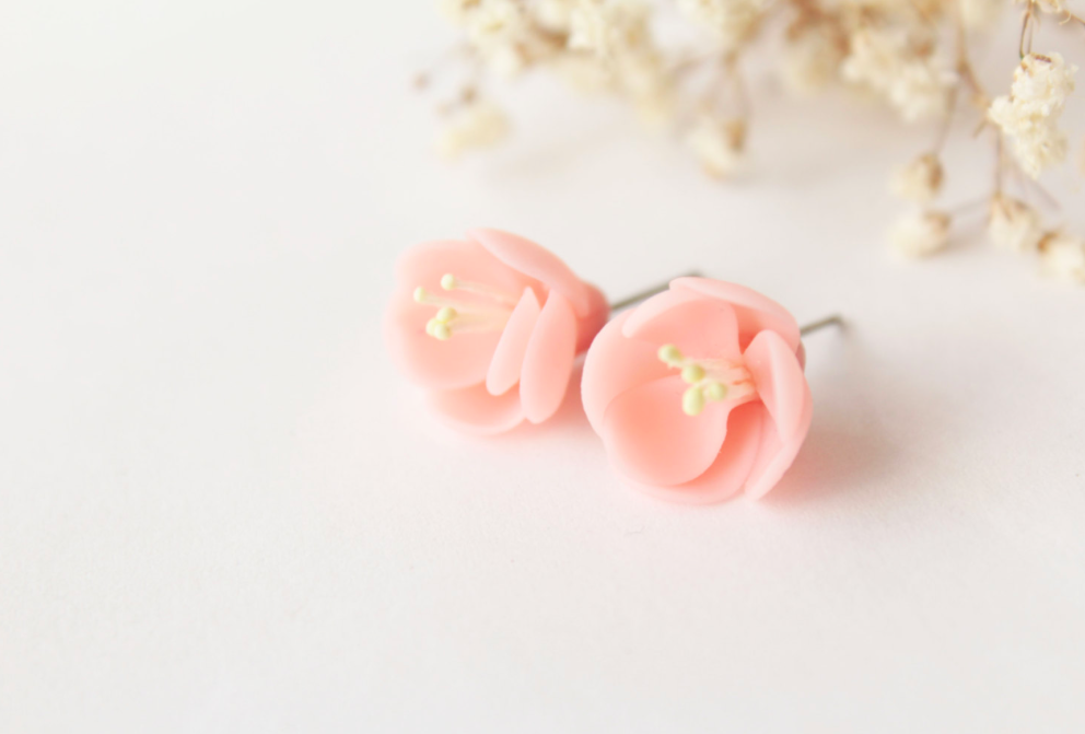 Handmade Clay Polymer Flower Earrings