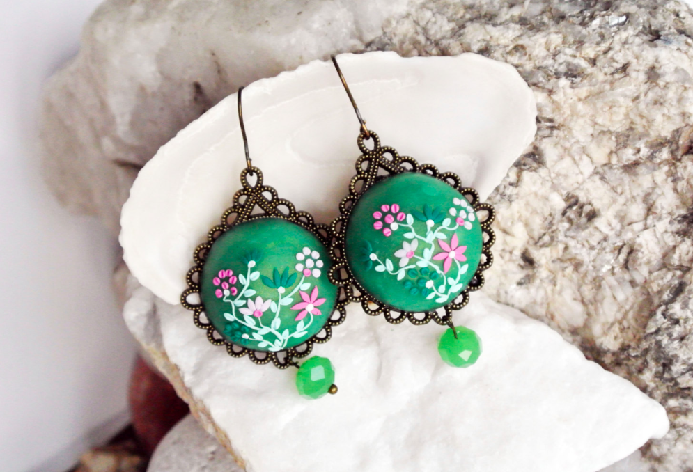 Jade Green Handmade clay earrings