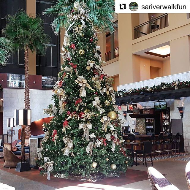 Y'all aren't thinking about pools right now, are ya?! Joke you all have a great Christmas. Go check out all the awesome Xmas trees along the Riverwalk this weekend. . . #Repost @sariverwalkfun (@get_repost) ・・・ The Christmas Tree Tour continues with this beautiful tree at the @hotelcontessa.  Just wonderful!  #SARiverwalkFun