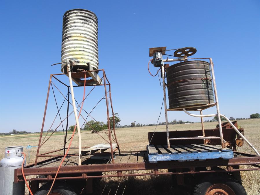 Left: Water warmer . Right: Biodynamic Preparation stirring machine.