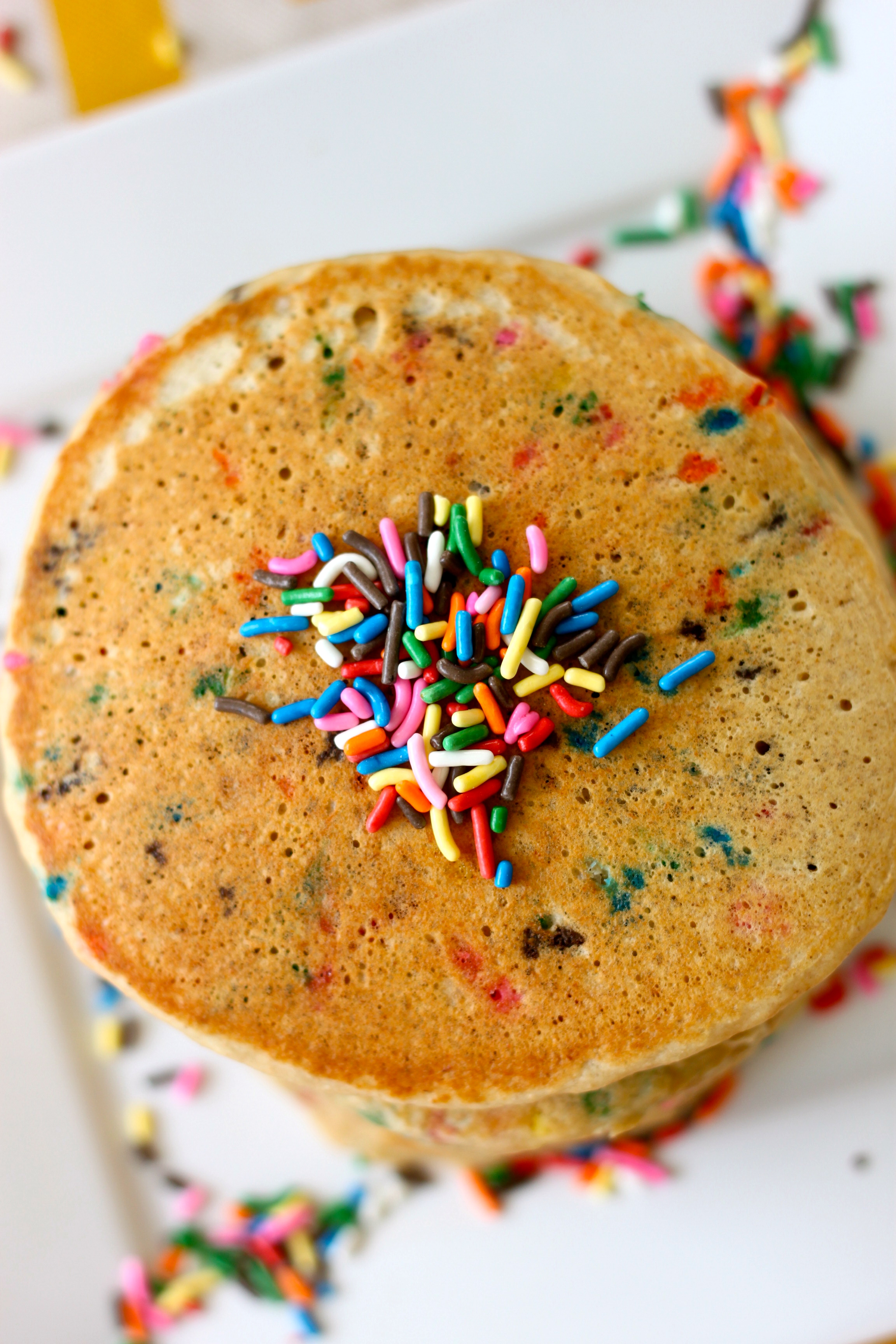 All Natural-Healthy Birthday Cake Pancakes from The Diva Dish