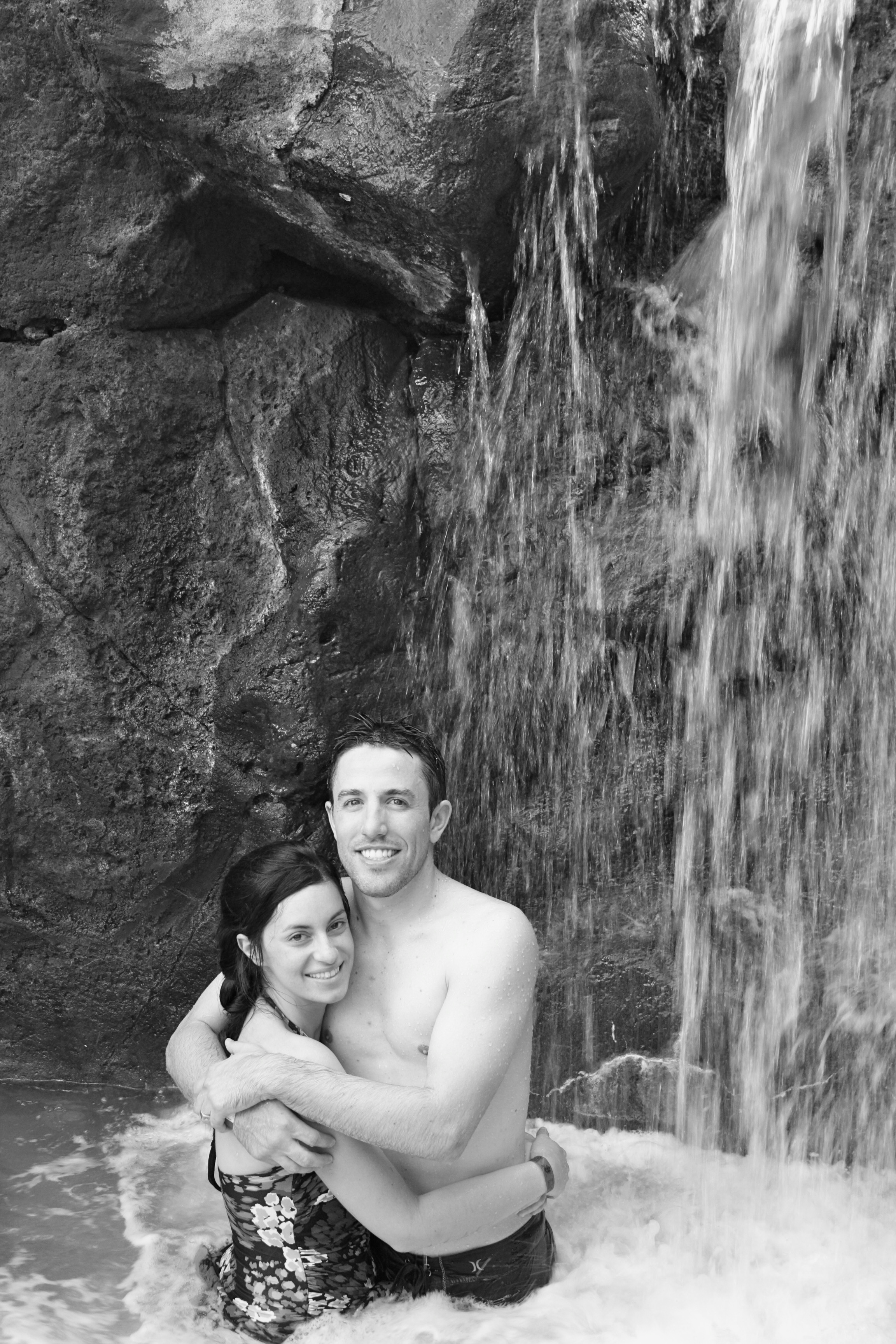 lovers in a waterfall