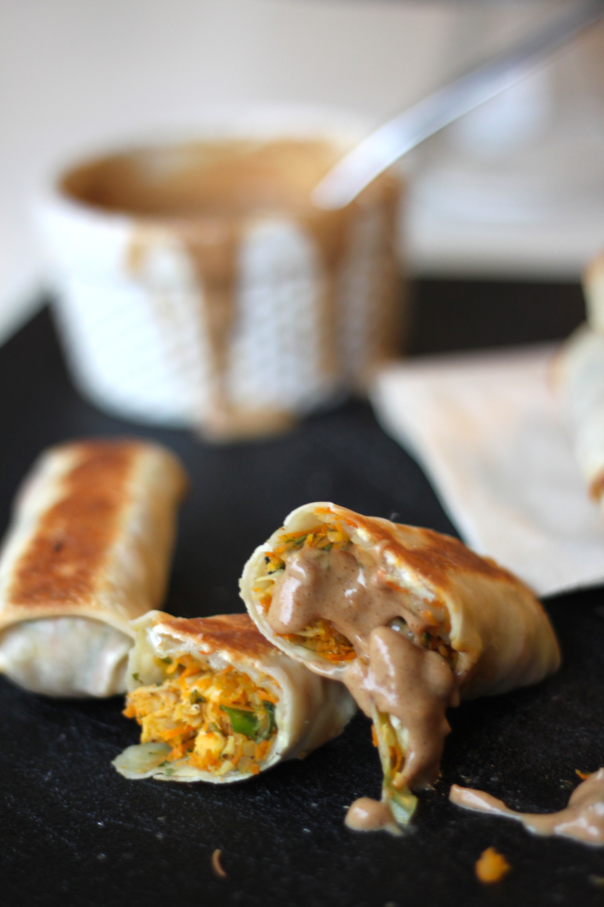 IChicken Spring Rolls with Crunchy Almond Butter Dipping Sauce from The Diva Dish
