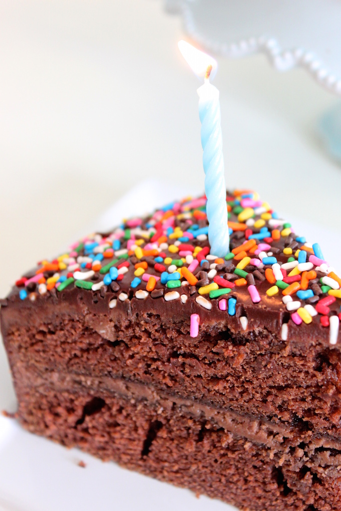 Chocolate Ganache Birthday Cake via The Diva Dish