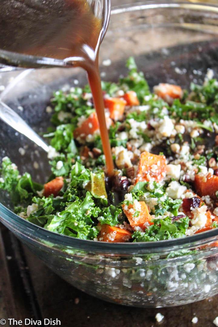Kale & Quinoa Harvest Salad via The Diva Dish