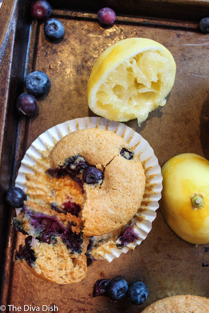Vegan Lemon Blueberry Muffins, Sweetened with Honey! Via The Diva Dish