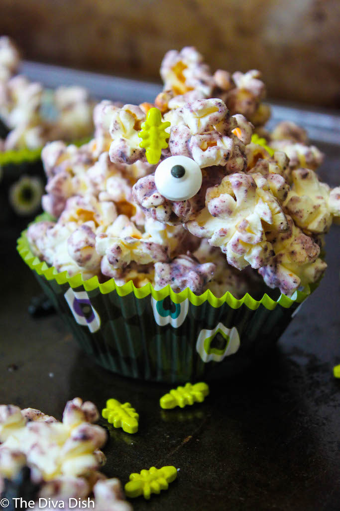 Healthier Blueberry White Chocolate Popcorn via The Diva Dish