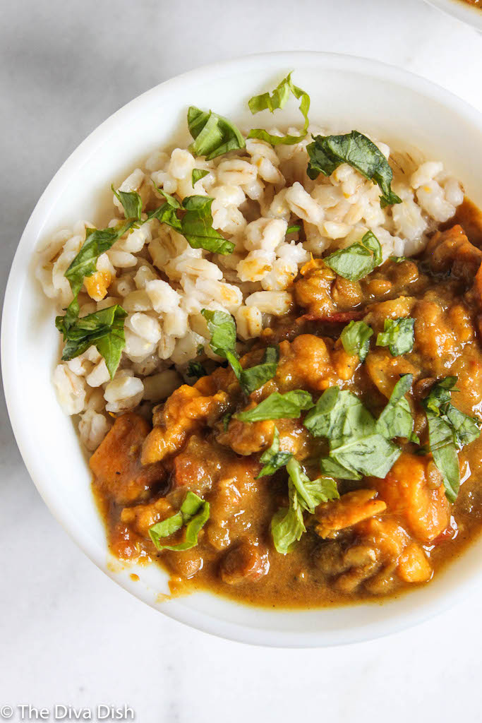 Pressure Cooker Lentil Sweet Potato Curry w/ Barley