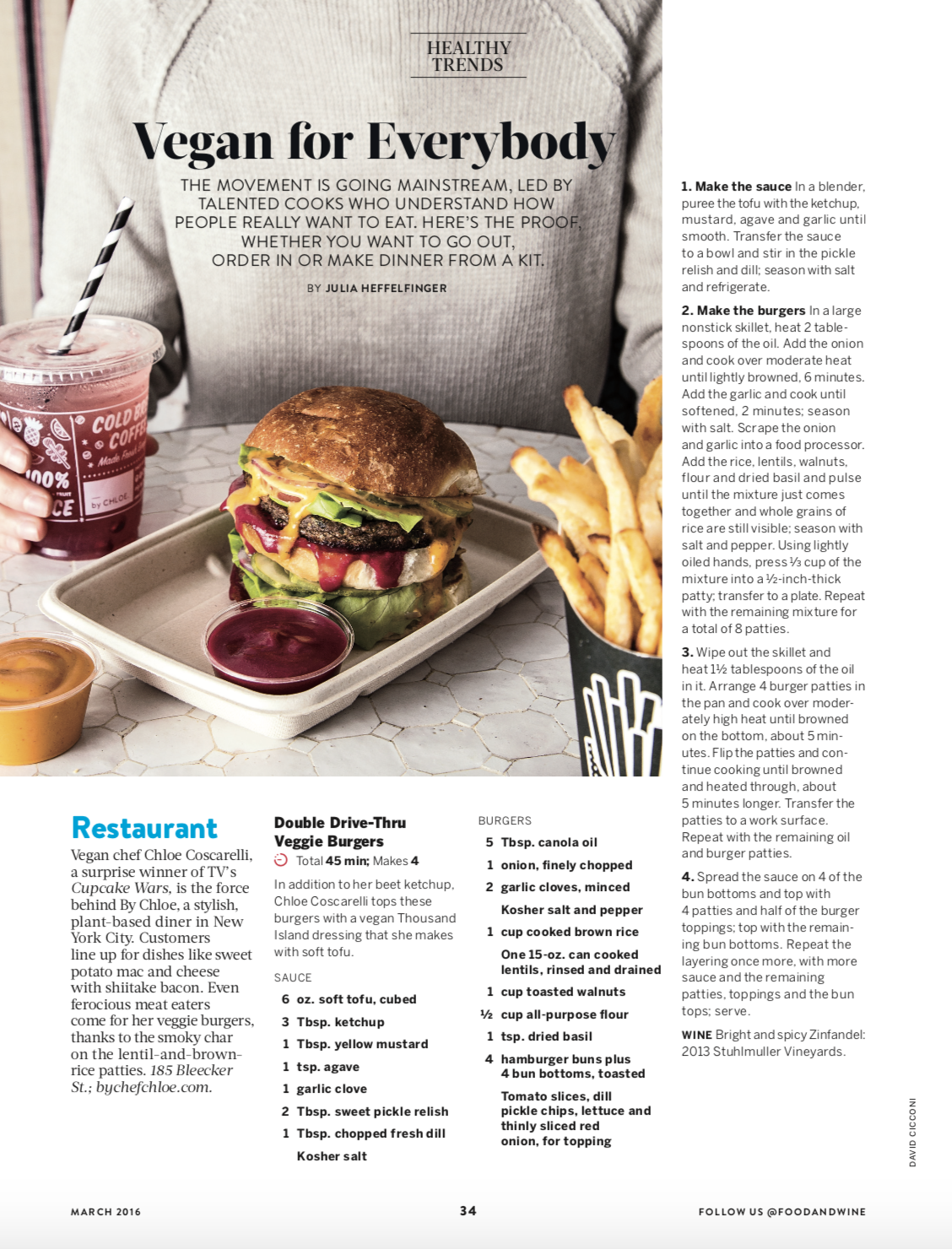FOOD & WINE MAGAZINE  Vegan for Everybody, March 2016