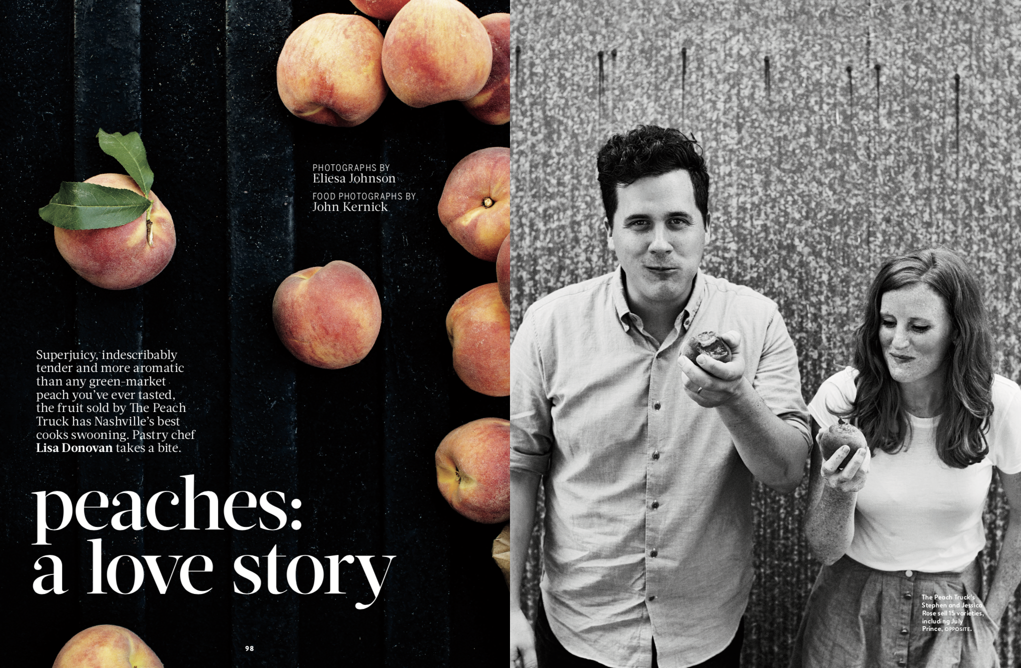 FOOD & WINE MAGAZINE  Peaches: A love Story, August 2016