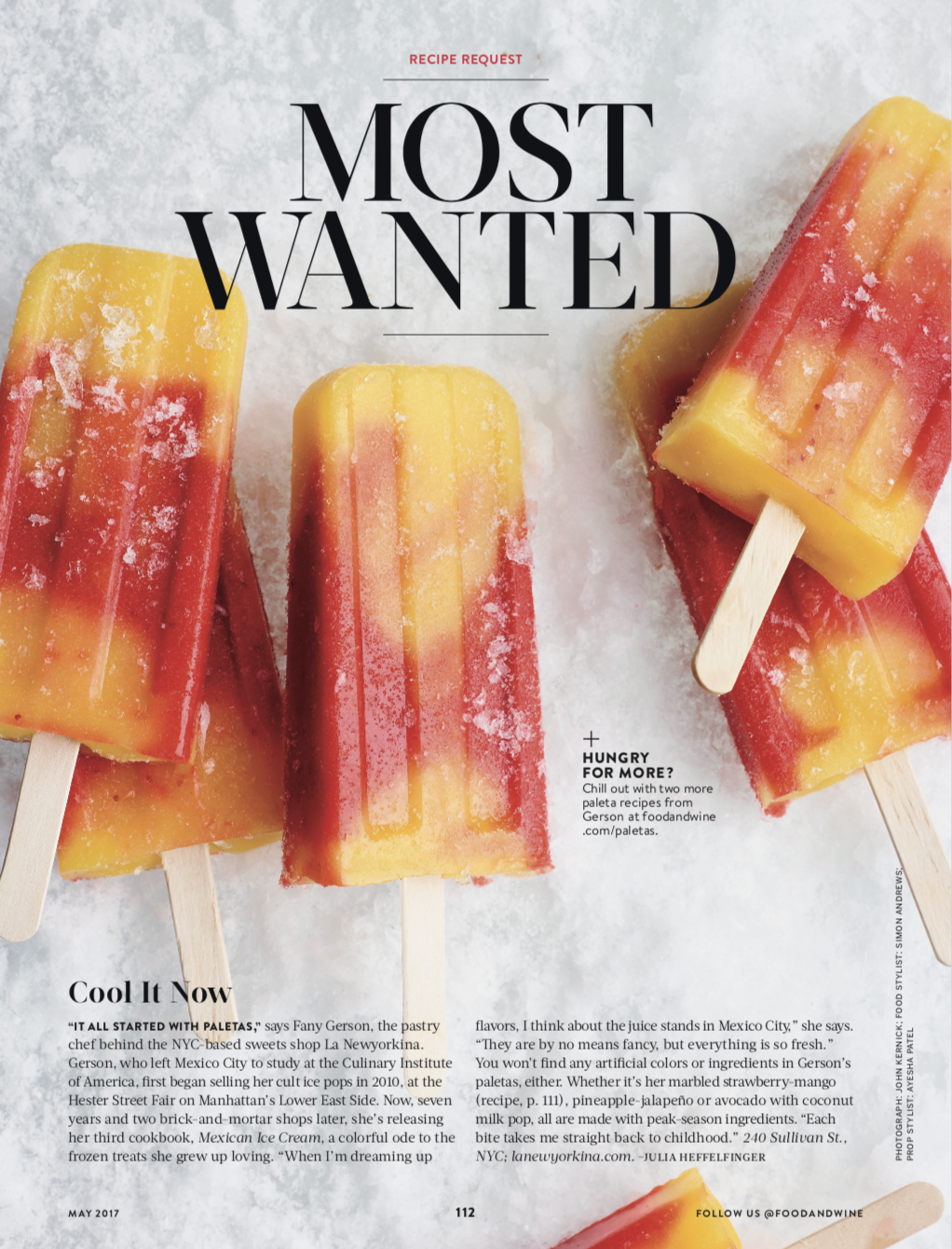 FOOD & WINE MAGAZINE  Most Wanted: Paletas, May 2017