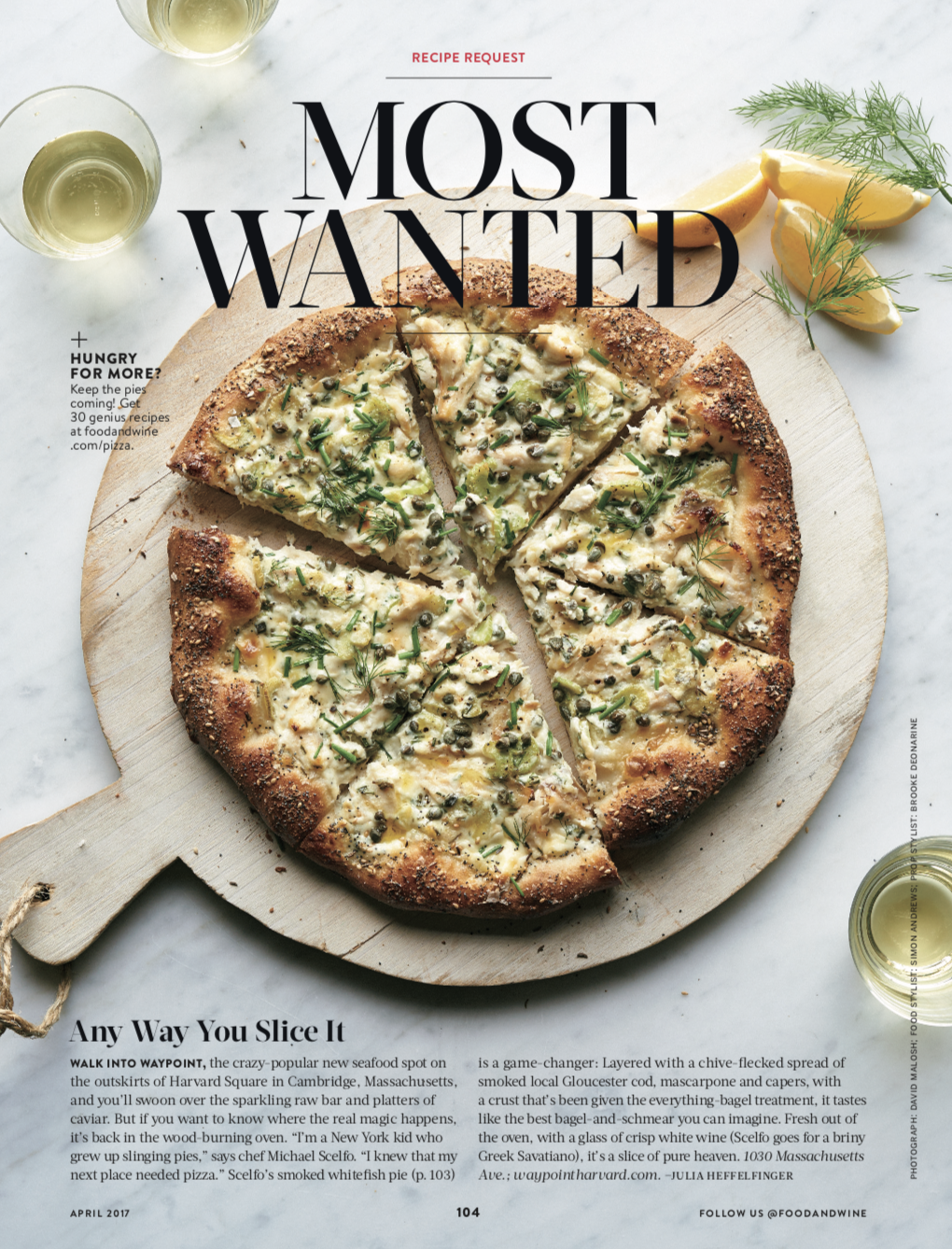 FOOD & WINE MAGAZINE  Most Wanted: Seafood Pizza, April 2017