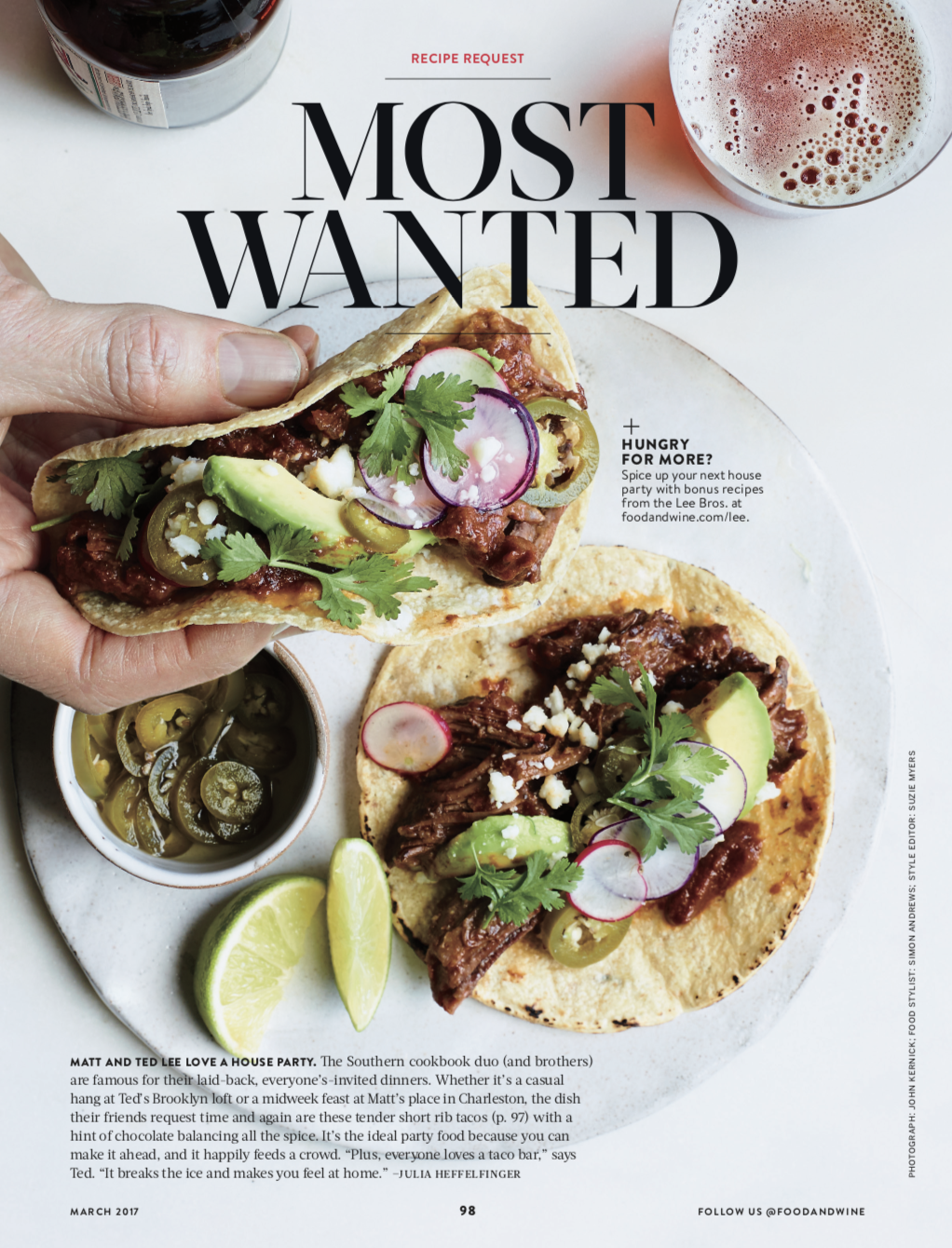 FOOD & WINE MAGAZINE  Most Wanted: Braised Beef Tacos, March 2017
