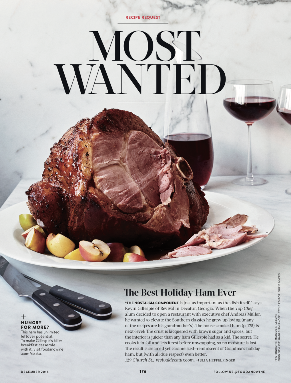 FOOD & WINE MAGAZINE  Most Wanted: Holiday Ham, December 2016