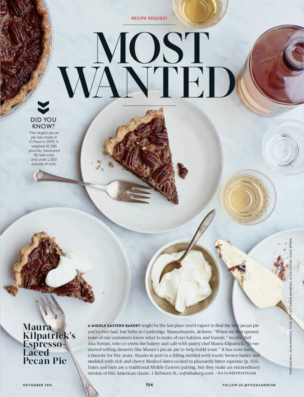 FOOD & WINE MAGAZINE  Most Wanted: Pecan Pie, November 2016