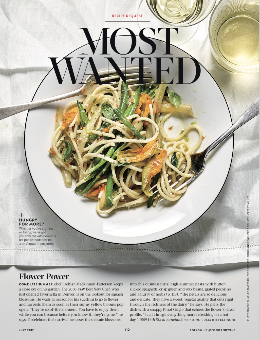FOOD & WINE MAGAZINE  Most Wanted: Summer Pasta, July 2017