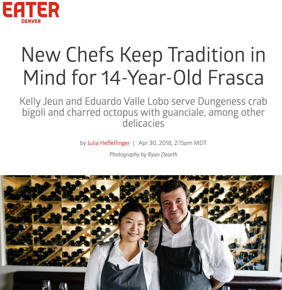 EATER DENVER  New Chefs Keep Traditional in Mind for 14-Year-Old Frasca, April 2018