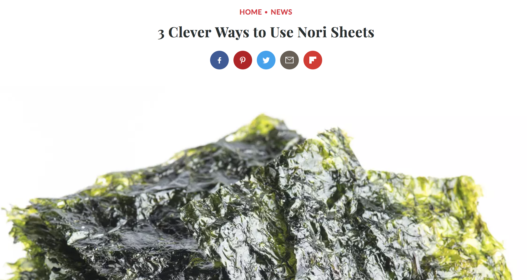 FOOD & WINE MAGAZINE  3 Clever Uses for Nori, August 2018
