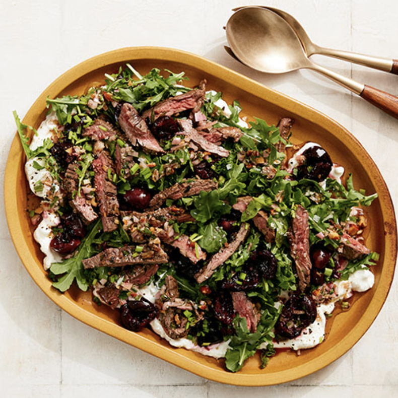 GRILLED STEAK AND CHERRY SALAD  Furthermore from Equinox