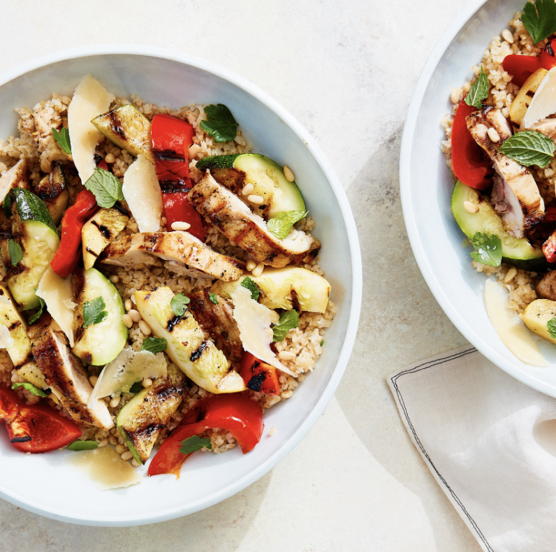 GRILLED CHICKEN AND SUMMER VEGETABLE BOWL  Furthermore from Equinox