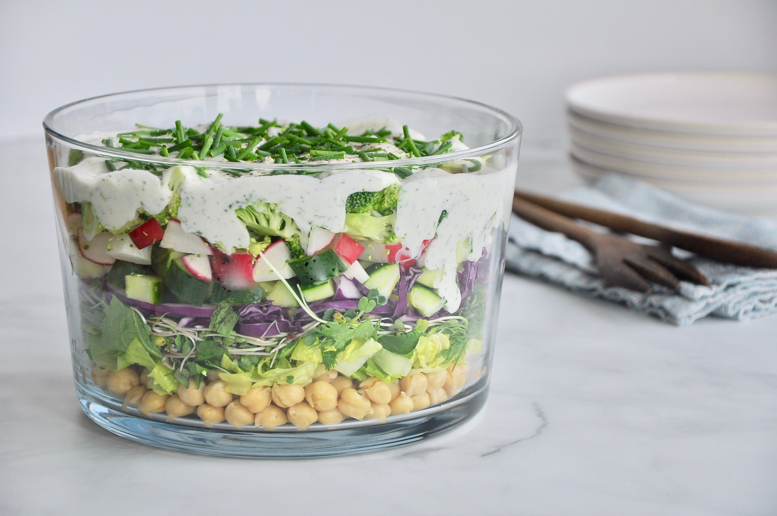 LAYERED PICNIC SALAD WITH YOGURT RANCH DRESSING  Private Consulting Client