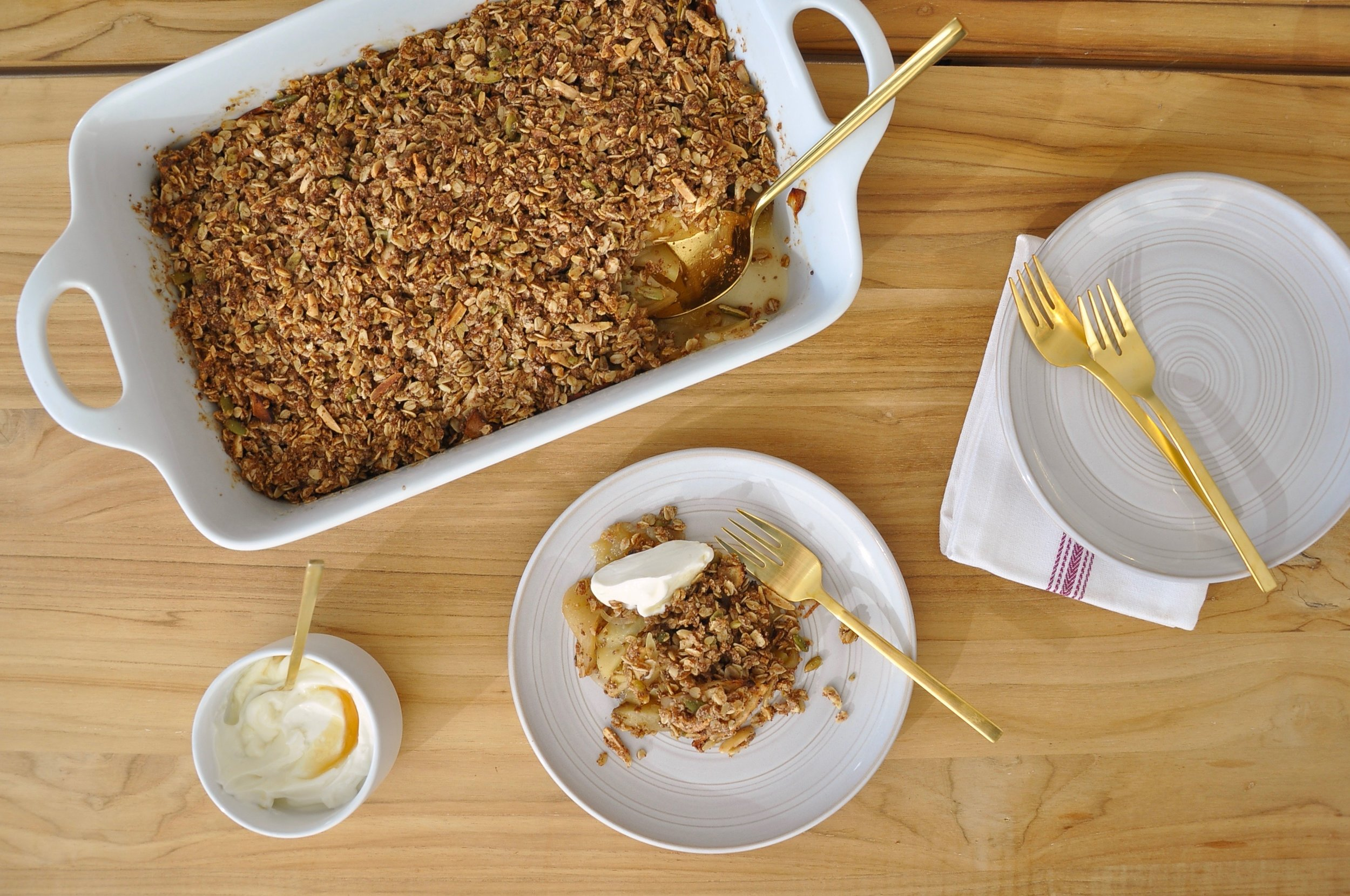APPLE-CHIA CRISP WITH SALTED MAPLE YOGURT  Furthermore from Equinox