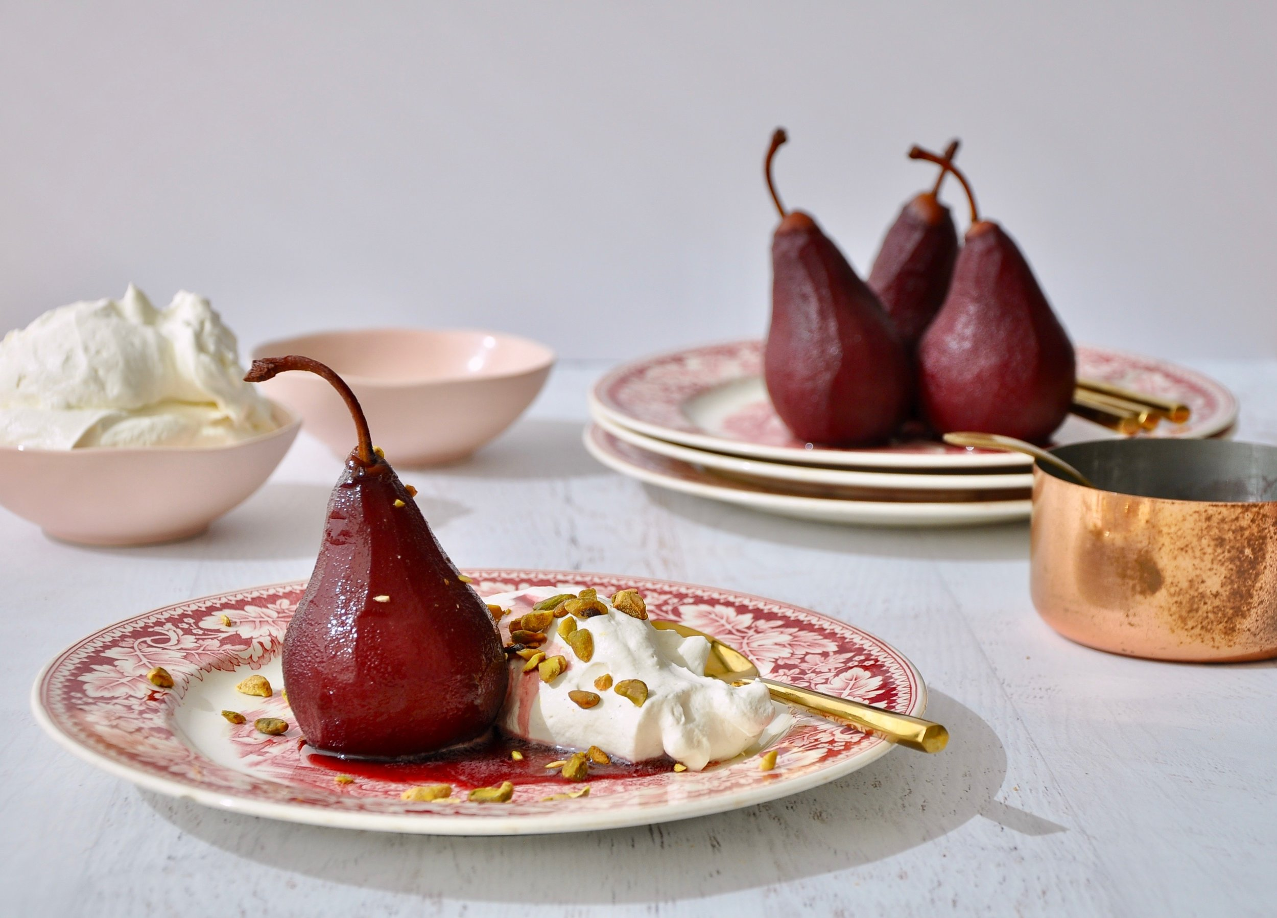 RED WINE POACHED PEARS  Private Consulting Client