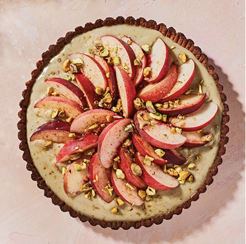 PEACH TART WITH PISTACHIOS AND CARDAMOM  Furthermore from Equinox