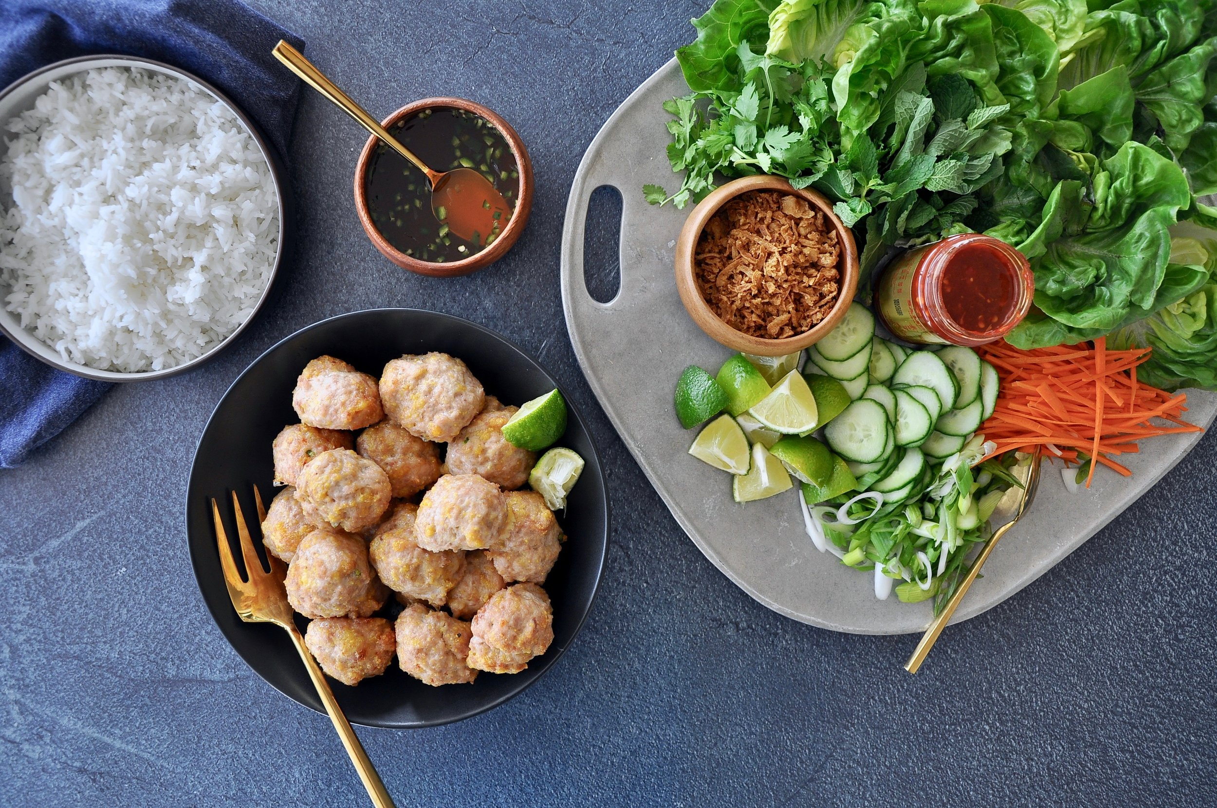 CHICKEN MEATBALL LETTUCE WRAPS  Private Consulting Client