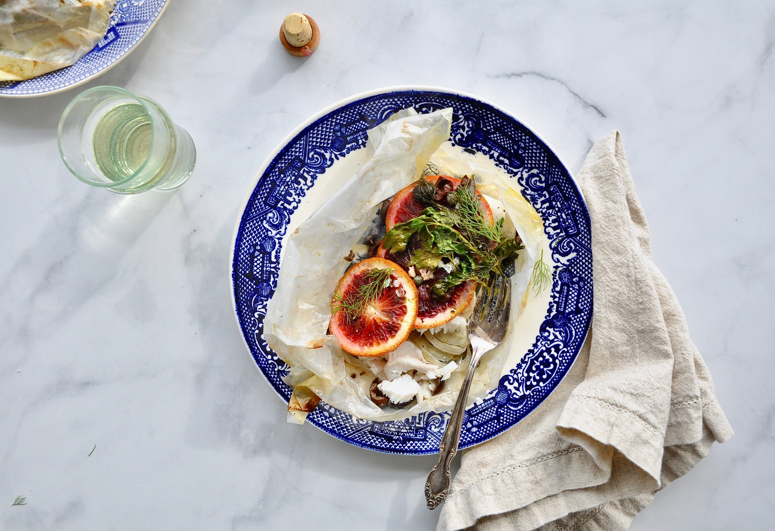COD EN PAPILLOTE WITH BLOOD ORANGE AND FENNEL  Private Consulting Client