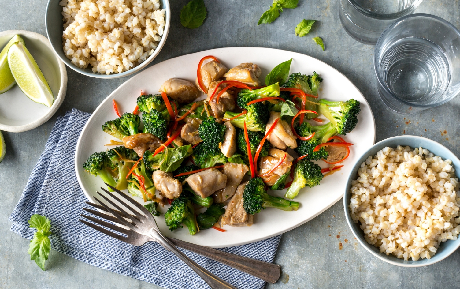 CHICKEN AND BROCCOLI STIR-FRY WITH BASIL  Under Armour x My Fitness Pal