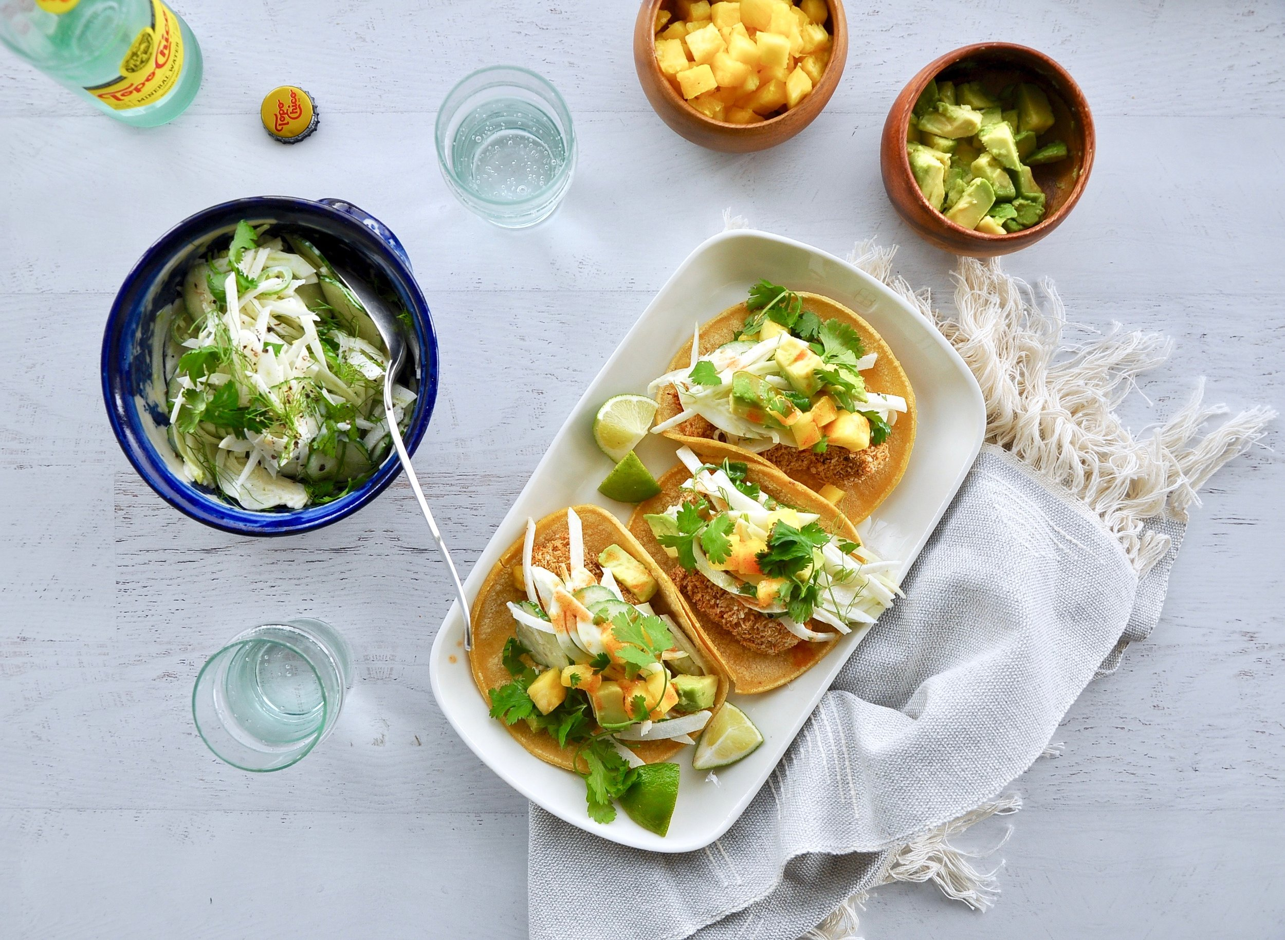 BAKED COCONUT-CRUSTED FISH TACOS WITH FENNEL-JICAMA SLAW  Private Consulting Client