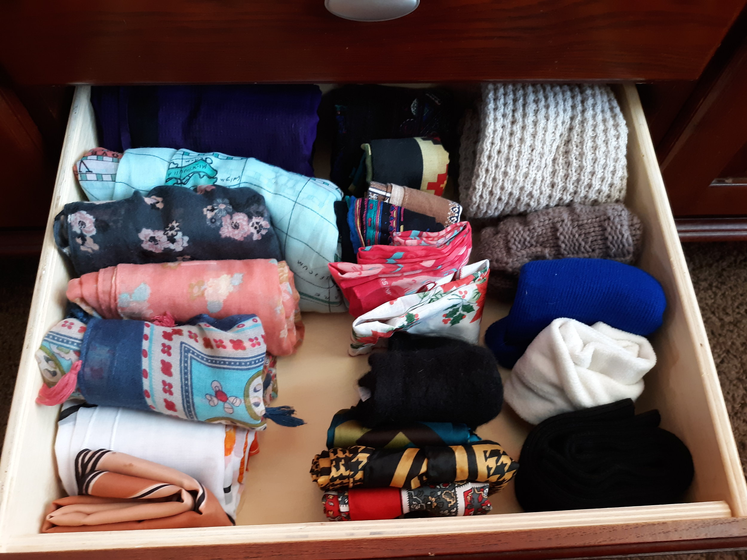 Organized scarf drawer a la Marie Kondo method! Picture by Maria Lindbergh