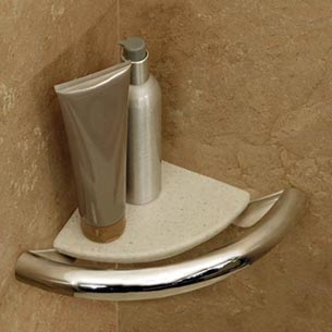 Photo of corner shelf grab bar by Invisia at Plumbing Supply