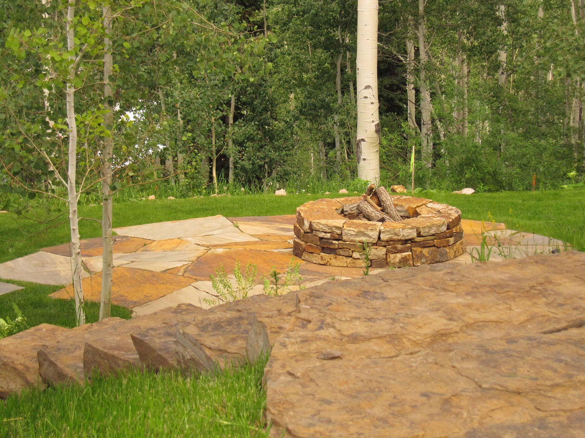 Residential custom stone walk & fire pit