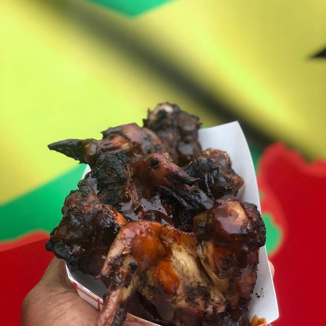 #Grubaholics!!! @amblerbeer today and tomorrow from 5-9pm!  Look at them beautiful #JerkWings!  Looks amazing, tastes even better!
