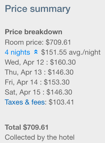 Hotel Cost - To the left you will see how much we ended up paying in total for the hotel, and how much each night ended up coming out to. If this $700 hotel stay is similar to your budget for a 4 night stay, I'd highly recommend checking into Seton Hotel and explore NYC while being in the best location possible. Not to mention Peter Dillon's Pub right next door for a proper drink, and on the other side Shake Shack for a delicious treat.