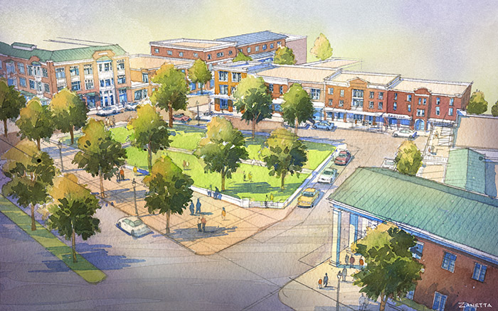 PHOTO BY SPECIAL TO THE DEMOCRAT-GAZETTE This artist rendering shows Johnson Square, a town square that is under construction in the Northwest Arkansas town.