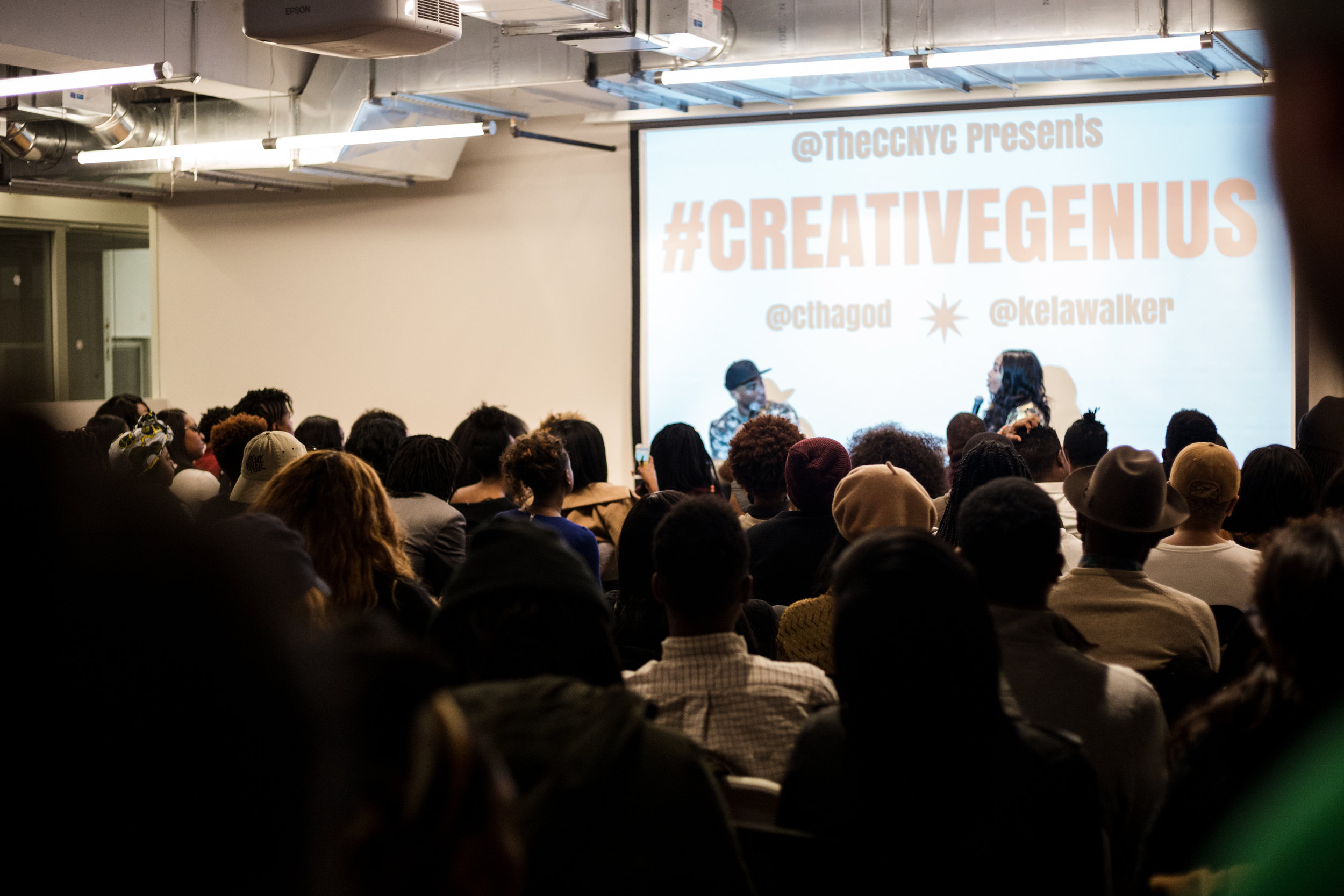 """This is my second time covering a Creative Collective event and also my second time being astonished by the amount of positive, creative energy resonating in one space. December 13th, The Creative Collective NYC presented Creative Genius their end of the year event which was a conversation with New York Times bestseller and host of """"The Breakfast Club""""  Charlamagne Tha God .  Kéla Waler , the Emmy Nominated TV Host/ Producer acted as the moderator for this event and I must say that both her and Charlamagne did an amazing job. Ms. Walker has a more personable approach to interviewing, which gives off the impression that she is friends with the interviewee. This is pleasant to watch because it allows for the audience to feel like they are somewhat involved in a conversation that two friends could have any day, rather than two celebrities conversing distantly about information they should never have access to. This made space for less fake interactions and more laughter and agreeance with every """"jewel"""" Charlamagne dropped"""". As for Charlamagne, he was just an overall intelligent guy. He took his time responding to each question, he gave hugs to all of his fans/supporter and tried being as transparent with the audience as possible. You can tell his experience as an interviewer has definitely prepared him in several ways for interviews. Lastly, Charlamagne is not an a**hole in person. I know he usually gets a bad rap for his bluntness, but honestly, when you actually experience him in person, you just take it for truth and not """"a**holery."""""""