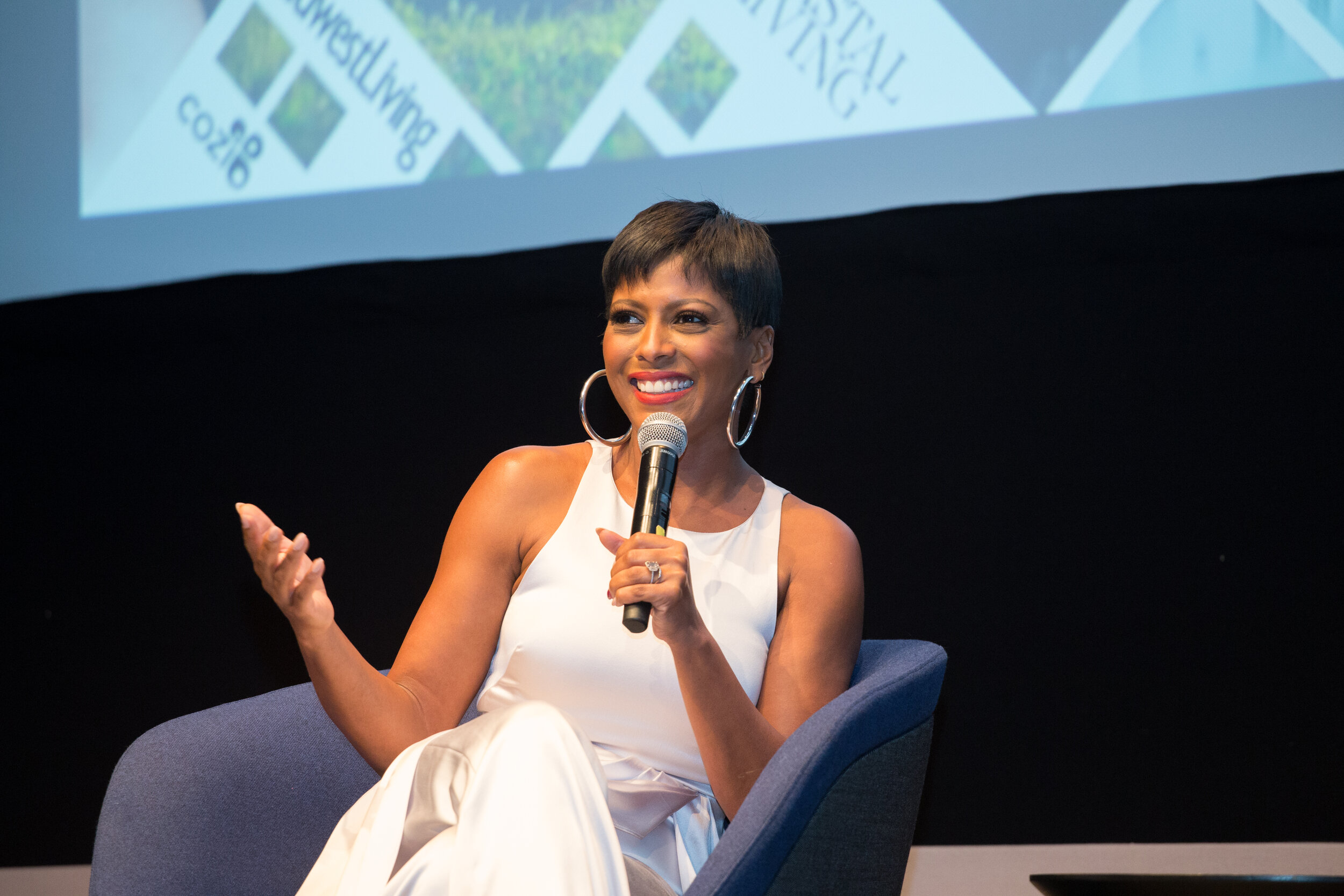 Tamron Hall is an American broadcast journalist and television talk show host. Ms. Hall was formerly a national news correspondent for NBC News, day-side anchor for MSNBC, host of the program MSNBC Live  with Tamron Hall,  and a co-host of Today's Take, the third hour of  Today.  She currently hosts  Deadline: Crime  on Investigation Discovery channel. In the summer of 2016, Investigation Discovery premiered a new special,  Guns on Campus: Tamron Hall Investigates , which commemorated the 50th anniversary of the tower shooting at the University of Texas at Austin. In September 2019, Hall debuted a self-titled syndicated talk show. I've watched her show this entire year but, it was amazing getting to see her in person and hearing her story. I don't personally know her but, I am proud of her and everything she has accomplished this year!